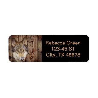 arte ideal indio nativo rústico del lobo del colec etiquetas de remite