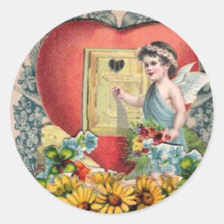 Arte ilustrado vintage pegatina redonda