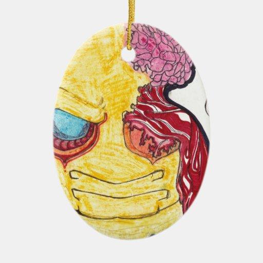 arte impresionante, muy creativo, su warmin global adorno ovalado de cerámica