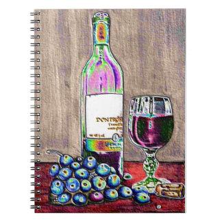 Arte impresionista del vino y de las uvas libro de apuntes con espiral
