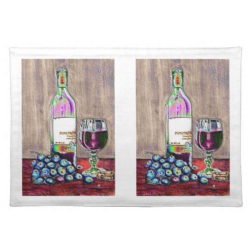 Arte impresionista del vino y de las uvas manteles