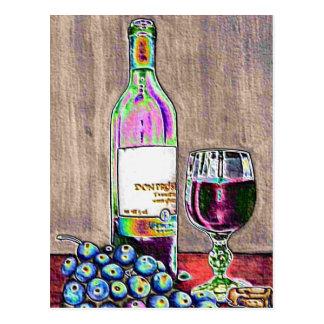 Arte impresionista del vino y de las uvas postales