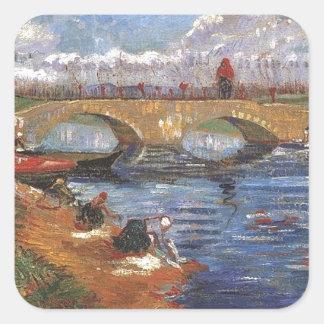 Arte impresionista del vintage del pintor de Van Pegatina Cuadrada