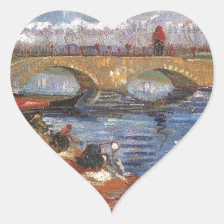 Arte impresionista del vintage del pintor de Van Pegatina En Forma De Corazón