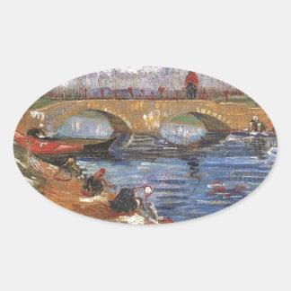 Arte impresionista del vintage del pintor de Van Pegatina Ovalada