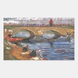 Arte impresionista del vintage del pintor de Van Pegatina Rectangular