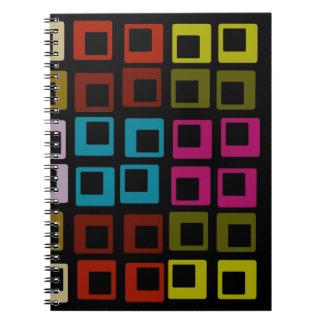 Arte inconsútil del modelo colorido retro libro de apuntes