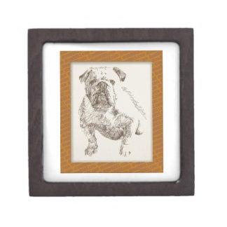 Arte inglés del perro del dogo extraído de palabra caja de recuerdo de calidad