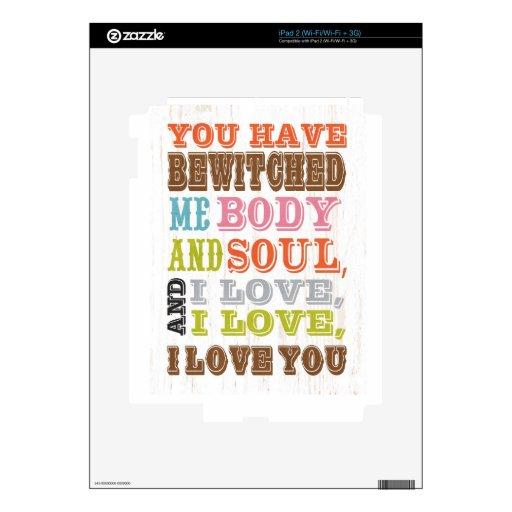 Arte inspirado - amor de I usted Calcomanía Para El iPad 2