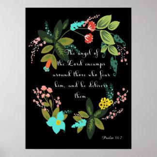 Arte inspirado cristiano - 34:7 del salmo impresiones