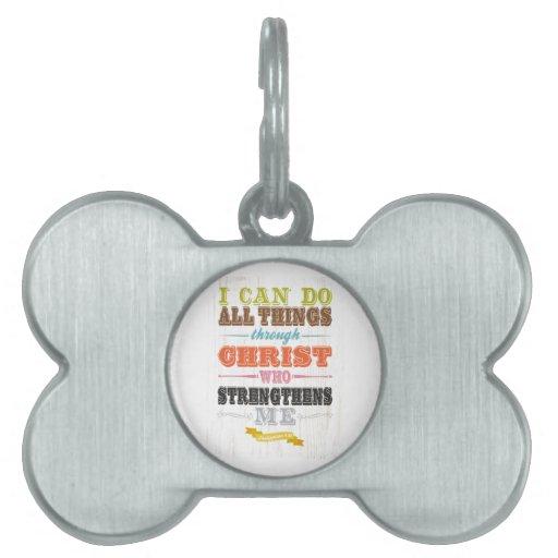 Arte inspirado - Cristo me consolida Placas Mascota