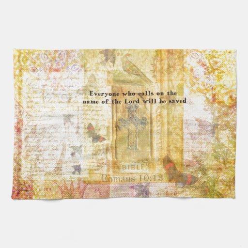 Arte inspirado del verso de la biblia del 10:13 de toallas de mano