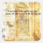 Arte inspirado del verso de la biblia del 10:13 de pegatina cuadradas personalizadas