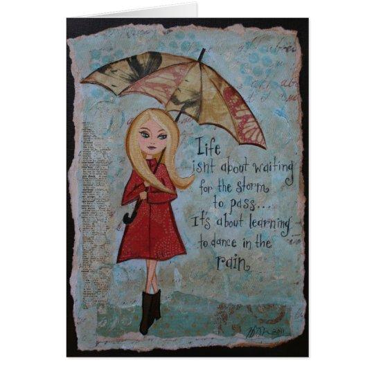 Arte inspirado en blanco del día lluvioso de la tarjeta pequeña