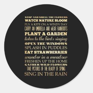 Arte inspirado - estación de primavera pegatina redonda