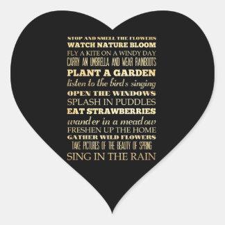 Arte inspirado - estación de primavera pegatina en forma de corazón