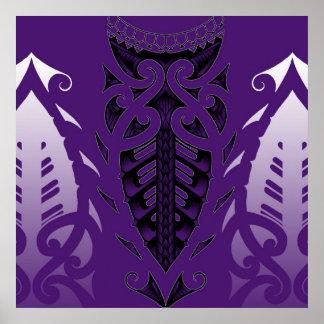 Arte inspirado maorí del tatuaje póster