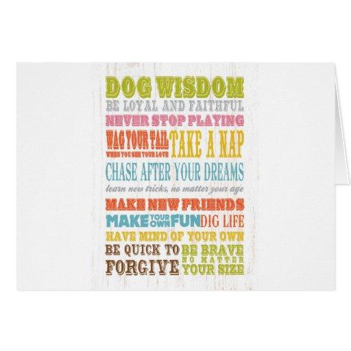 Arte inspirado - sabiduría del perro tarjeta de felicitación