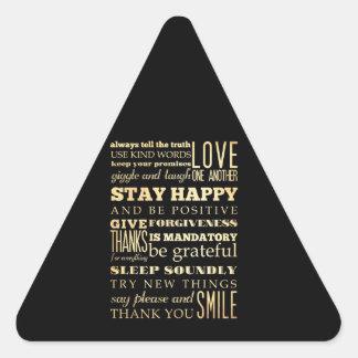 Arte inspirado - sea positivo pegatina triangular