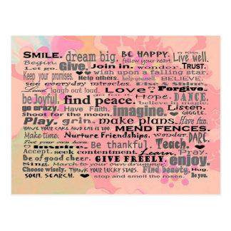 Arte inspirador de la postal de las palabras