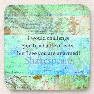 Arte isabelino de Shakespeare de la cita divertida Posavasos De Bebidas