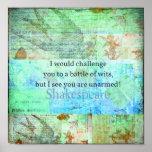 Arte isabelino de Shakespeare de la cita divertida Póster