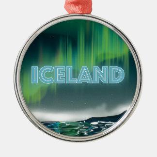Arte islandés del viaje de la aurora boreal adorno navideño redondo de metal