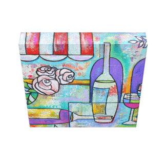 Arte italiano del vino del restaurante impresión en lienzo estirada