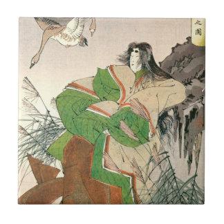 Arte japonés antiguo, mujer y gansos azulejos ceramicos