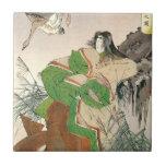 Arte japonés antiguo, mujer y gansos azulejo cuadrado pequeño