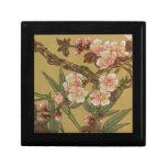 Arte japonés asiático de las flores de cerezo joyero cuadrado pequeño