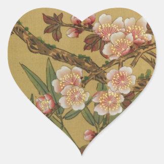 Arte japonés asiático de las flores de cerezo pegatinas corazon personalizadas