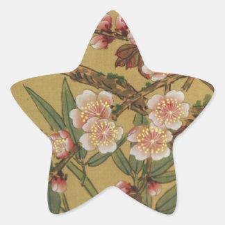 Arte japonés asiático de las flores de cerezo pegatina forma de estrella personalizadas