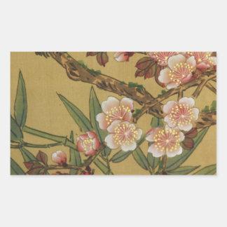 Arte japonés asiático de las flores de cerezo pegatina rectangular