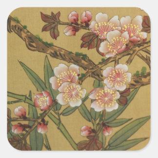 Arte japonés asiático de las flores de cerezo pegatina cuadrada