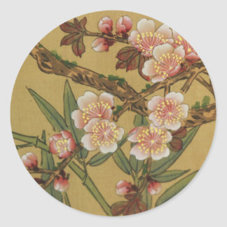 Arte japonés asiático de las flores de cerezo etiqueta redonda