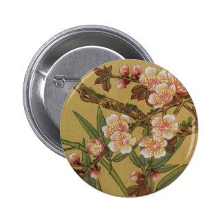 Arte japonés asiático de las flores de cerezo pin redondo de 2 pulgadas