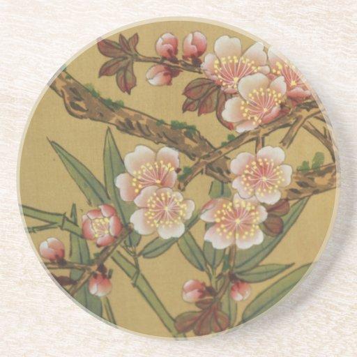 Arte japonés asiático de las flores de cerezo posavasos manualidades