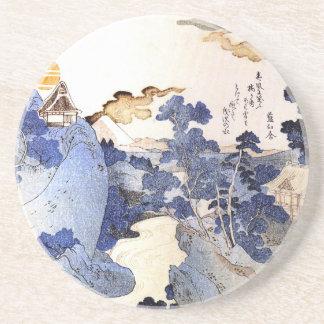 Arte japonés azul del vintage posavasos cerveza