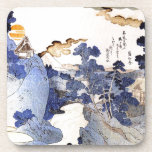 Arte japonés azul del vintage posavasos