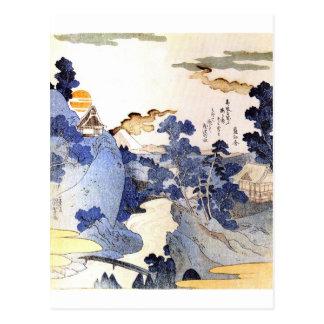 Arte japonés azul del vintage postales