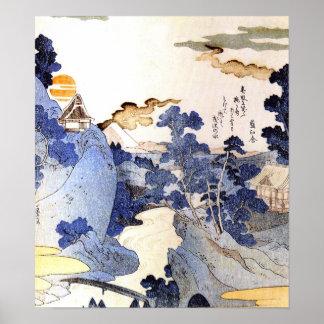 Arte japonés azul Woodblock Ukiyo-E del vintage Póster