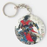 Arte japonés clásico oriental fresco del guerrero  llavero redondo tipo pin
