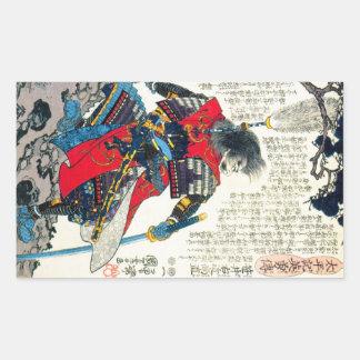 Arte japonés clásico oriental fresco del guerrero pegatina rectangular
