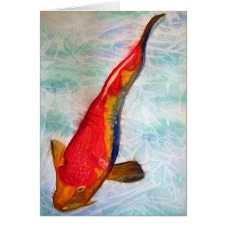 Arte japonés de la acuarela de los pescados de Koh Tarjetón