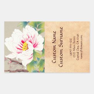 Arte japonés de la flor de la camelia rosada de pegatina rectangular