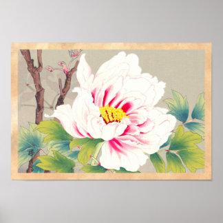 Arte japonés de la flor de la camelia rosada de Zu Póster