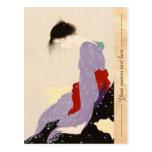 Arte japonés de la mujer de la letra de amor de Na Postal