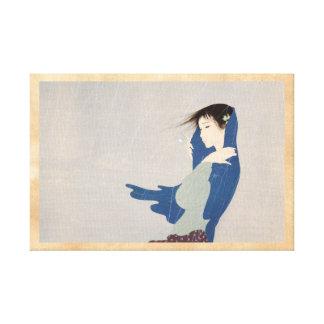 Arte japonés de la mujer de la lluvia fina de Naka Impresión En Lienzo Estirada