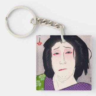 Arte japonés de la mujer del woodprint oriental fr llavero